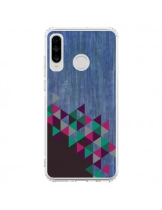 Coque Huawei P30 Lite Wood Bois Azteque Triangles Archiwoo - Pura Vida