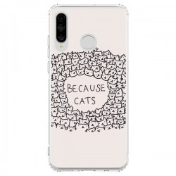 Coque Huawei P30 Lite Because Cats chat - Santiago Taberna