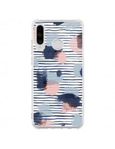 Coque Huawei P30 Lite Watercolor Stains Stripes Navy - Ninola Design