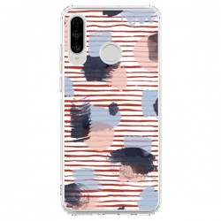 Coque Huawei P30 Lite Watercolor Stains Stripes Red - Ninola Design