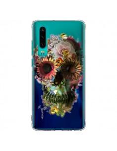Coque Huawei P30 Skull Flower Tête de Mort Transparente - Ali Gulec