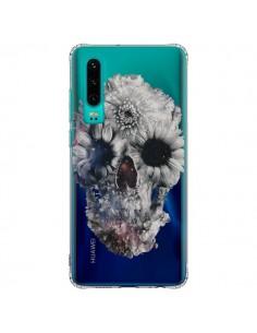 Coque Huawei P30 Floral Skull Tête de Mort Transparente - Ali Gulec