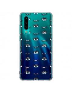 Coque Huawei P30 Eyes Oeil Yeux Bleus Mosaïque Transparente - Léa Clément