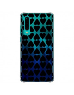 Coque Huawei P30 Coeurs Heart Noir Transparente - Project M