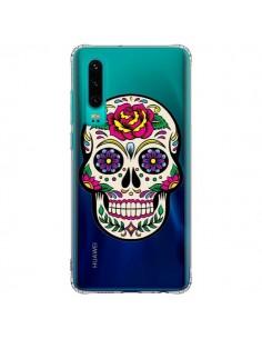 Coque Huawei P30 Tête de Mort Mexicaine Fleurs Transparente - Laetitia