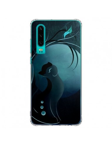 Coque Huawei P30 Chat Clair de Lune Moonlight - LouJah