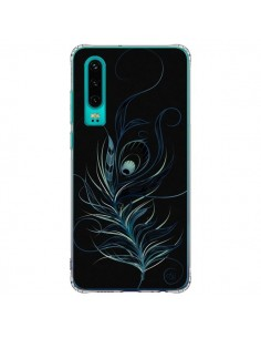 Coque Huawei P30 Feather Plume Noir Bleu - LouJah
