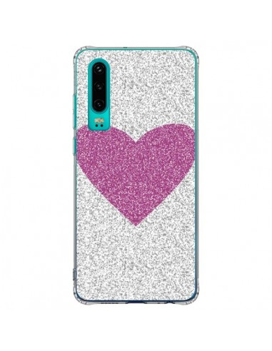 Coque Huawei P30 Coeur Rose Argent...