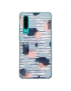Coque Huawei P30 Watercolor Stains Stripes Navy - Ninola Design