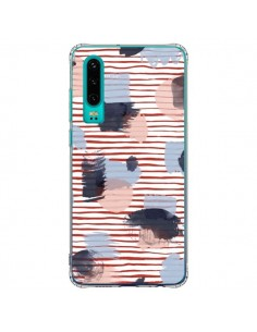 Coque Huawei P30 Watercolor Stains Stripes Red - Ninola Design