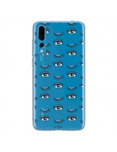 Coque Huawei P20 Pro Eyes Oeil Yeux Bleus Mosaïque Transparente - Léa Clément