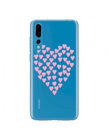 Coque Huawei P20 Pro Coeurs Heart Love Rose Pink Transparente - Project M