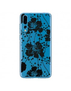 Coque Huawei P20 Pro Fleurs Noirs Flower Transparente - Dricia Do