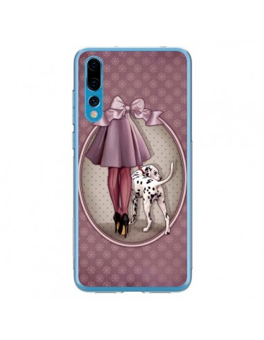 Coque Huawei P20 Pro Lady Chien Dog Dalmatien Robe Pois - Maryline Cazenave