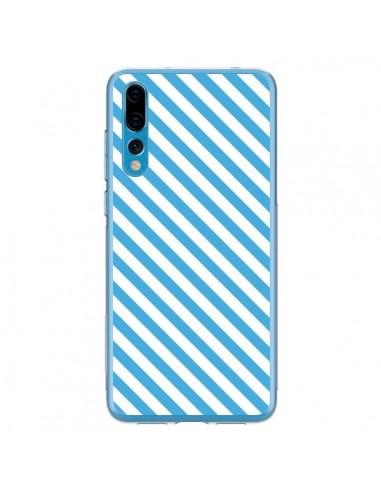 Coque Huawei P20 Pro Bonbon Candy Bleue et Blanche Rayée - Nico