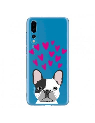 Coque Huawei P20 Pro Bulldog Français Coeurs Chien Transparente - Pet Friendly