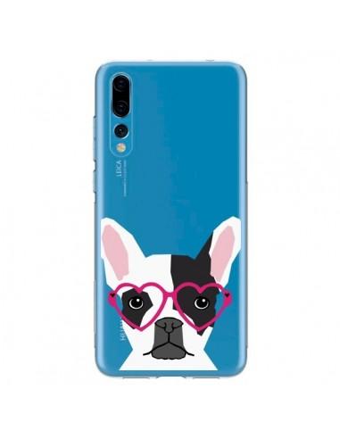 Coque Huawei P20 Pro Bulldog Français Lunettes Coeurs Chien Transparente - Pet Friendly