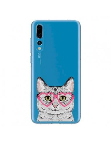 Coque Huawei P20 Pro Chat Gris Lunettes Coeurs Transparente - Pet Friendly