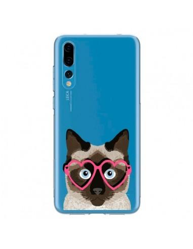 Coque Huawei P20 Pro Chat Marron Lunettes Coeurs Transparente - Pet Friendly