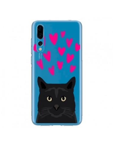 Coque Huawei P20 Pro Chat Noir Coeurs Transparente - Pet Friendly
