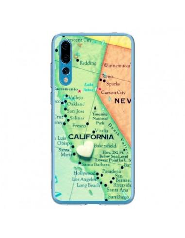 Coque Huawei P20 Pro Carte Map Californie - R Delean