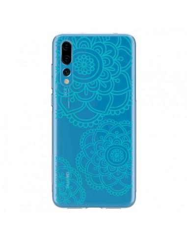 Coque Huawei P20 Pro Mandala Bleu Aqua Doodle Flower Transparente - Sylvia Cook