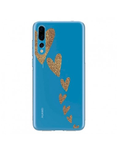 Coque Huawei P20 Pro Coeur Falling Gold Hearts Transparente - Sylvia Cook