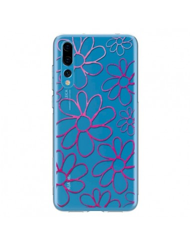 Coque Huawei P20 Pro Flower Garden Pink Fleur Transparente - Sylvia Cook