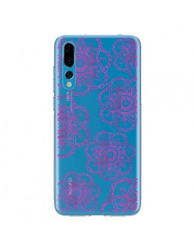 Coque Huawei P20 Pro Pink Doodle Flower Mandala Rose Fleur Transparente - Sylvia Cook