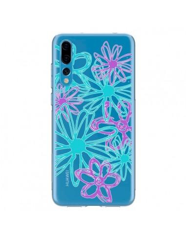 Coque Huawei P20 Pro Turquoise and Purple Flowers Fleurs Violettes Transparente - Sylvia Cook