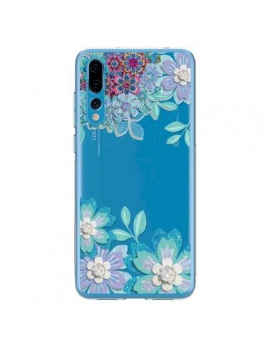 Coque Huawei P20 Pro Winter Flower Bleu, Fleurs d'Hiver Transparente - Sylvia Cook