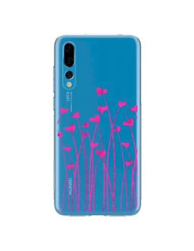 Coque Huawei P20 Pro Love in Pink Amour Rose Fleur Transparente - Sylvia Cook