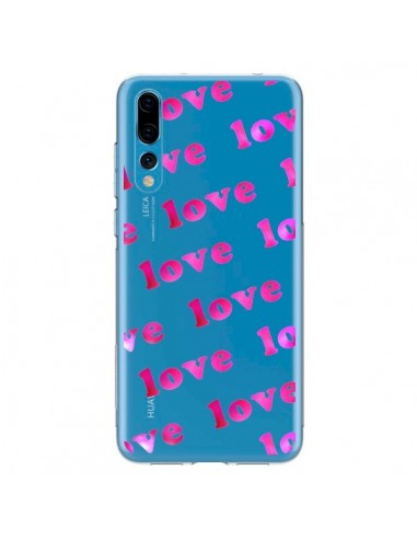 Coque Huawei P20 Pro Pink Love Rose Transparente - Sylvia Cook