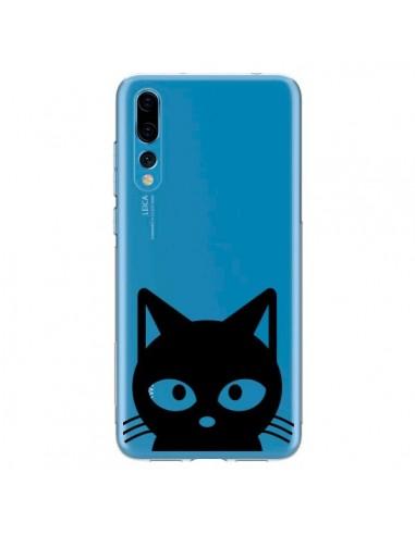 Coque Huawei P20 Pro Tête Chat Noir Cat Transparente - Yohan B.