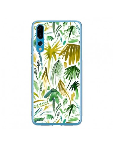 Coque Huawei P20 Pro Brushstrokes Tropical Palms Green - Ninola Design