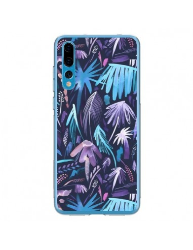 Coque Huawei P20 Pro Brushstrokes Tropical Palms Navy - Ninola Design