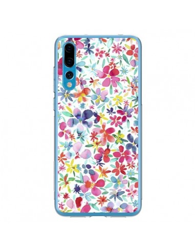 Coque Huawei P20 Pro Colorful Flowers Petals Blue - Ninola Design