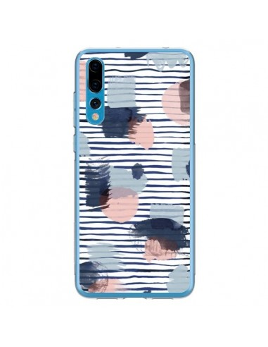 Coque Huawei P20 Pro Watercolor Stains Stripes Navy - Ninola Design