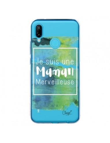 Coque Huawei P20 Lite Je suis une Maman Merveilleuse Bleu Vert Transparente - Chapo