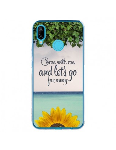 Coque Huawei P20 Lite Let's Go Far Away Flower Fleur Tournesol - Eleaxart