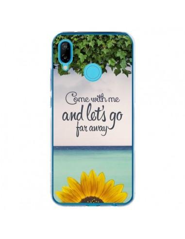 Coque Huawei P20 Lite Let's Go Far Away Flower Fleur Tournesol - Eleaxart