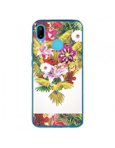 Coque Huawei P20 Lite Parrot Floral Perroquet Fleurs - Eleaxart