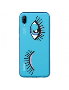 Coque Huawei P20 Lite Eyes Oeil Yeux Bleus Transparente - Léa Clément