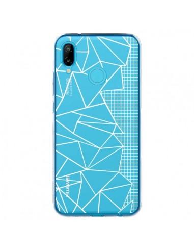 Coque Huawei P20 Lite Lignes Grilles Side Grid Abstract Blanc Transparente - Project M