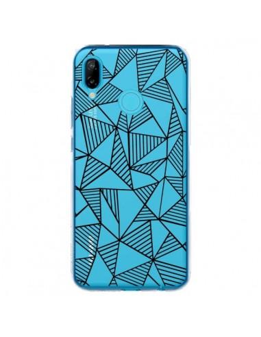 Coque Huawei P20 Lite Lignes Grilles Triangles Grid Abstract Noir Transparente - Project M