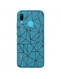 Coque Huawei P20 Lite Lignes Grilles Triangles Full Grid Abstract Noir Transparente - Project M