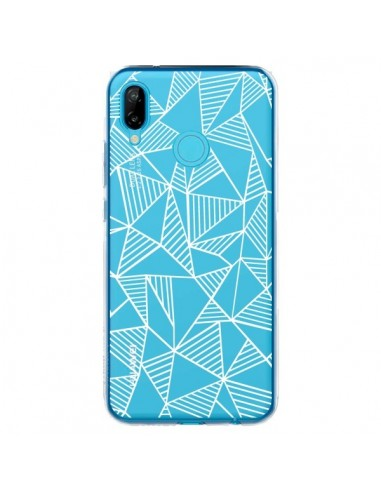Coque Huawei P20 Lite Lignes Grilles Triangles Grid Abstract Blanc Transparente - Project M