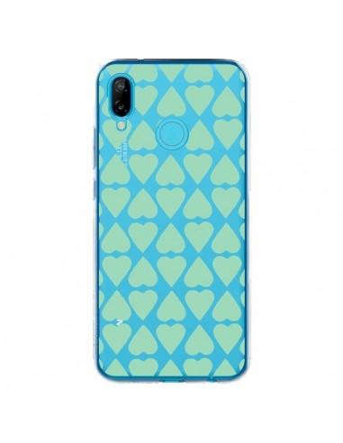 Coque Huawei P20 Lite Coeurs Heart Mint Bleu Vert Transparente - Project M
