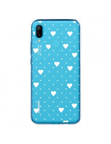 Coque Huawei P20 Lite Point Coeur Blanc Pin Point Heart Transparente - Project M