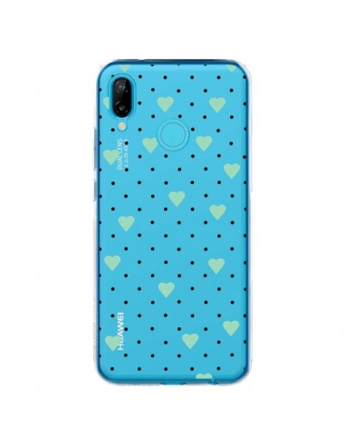 Coque Huawei P20 Lite Point Coeur Mint Bleu Vert Pin Point Heart Transparente - Project M